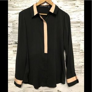 Ivanka Trump button down blouse pink & black